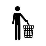 Merce nel carrello di lancio dei rifiuti della persona del pittogramma illustrazione di stock
