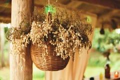 Merce nel carrello secca dei fiori sul gambo di legno Fotografia Stock