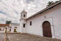 Merced Church. The La Merced Church with Grey clouds overhead in Cali, Colombia royalty free stock photography
