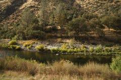Merced flod på varm höstdag Arkivfoto