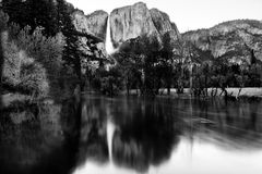 Merced river in Black and white. Merced river and Yosemite Falls in Black and white Royalty Free Stock Image