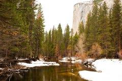 Merced River and El Capitan. In Yosemite National Park, California Stock Images