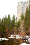 Merced River and El Capitan. In Yosemite National Park, California Royalty Free Stock Images