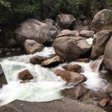 The Merced River rapids scoot around the rocks of Yosemite Royalty Free Stock Photos