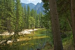 Merced River Yosemite. Merced River in Yosemite National Park, California Sierra Nevada Mountains, United States stock photos