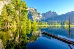 Merced River and Yosemite Falls landscape. In Yosemite National Park. California, USA Stock Photography