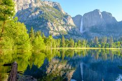 Merced River and Yosemite Falls landscape Royalty Free Stock Photography
