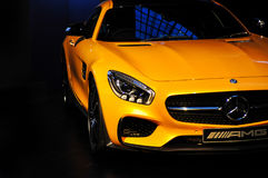 Mercedes AMG car. SYDNEY / AUSTRALIA - 16 April 2015: Mercedes Benz AMG car stands in the hall of Carriageworks building Sydney on 16 April 2015 Stock Photography