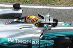 Lewis Hamilton on Pole Position. Mercedes AMG Formula 1 star racing at Circuit de Barcelona-Catalunya outside of Barcelona Spain royalty free stock photos