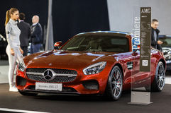 Mercedes AMG GT. Belgrade, Serbia - March 19, 2015: MERCEDES AMG GT S presented at Belgrade 52nd International Motor Show - MSA (OICA), press day Royalty Free Stock Photo