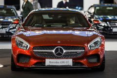 Mercedes AMG GT. Belgrade, Serbia - March 19, 2015: MERCEDES AMG GT S presented at Belgrade 52nd International Motor Show - MSA (OICA), press day Royalty Free Stock Photography
