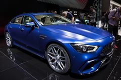2019 Mercedes AMG GT 4-Door Coupe car. GENEVA, SWITZERLAND - MARCH 7, 2018: New 2019 Mercedes-AMG GT 4-Door Coupe car presented at the 88th Geneva International Stock Photography