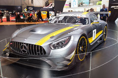 2015 Mercedes-AMG GT3. Geneva, Switzerland - March 4, 2015: 2015 Mercedes-AMG GT3 presented on the 85th International Geneva Motor Show Royalty Free Stock Image