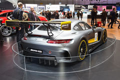2015 Mercedes-AMG GT3. Geneva, Switzerland - March 4, 2015: 2015 Mercedes-AMG GT3 presented on the 85th International Geneva Motor Show Royalty Free Stock Photos