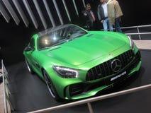 Mercedes AMG GT. A matte green Mercedes AMG GT Stock Images