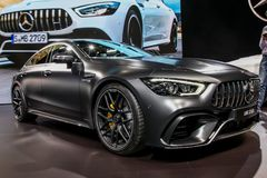Mercedes AMG GT 63 S. NEW YORK CITY-MARCH 28: Mercedes AMG GT 63 S shown at the New York International Auto Show 2018, at the Jacob Javits Center. This was Press Royalty Free Stock Images