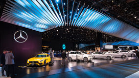 Mercedes-AMG 2018 GT S och Marqueutställning royaltyfri bild
