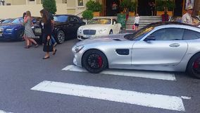 Mercedes AMG GT S V8 in Monte-Carlo, Monaco stock footage