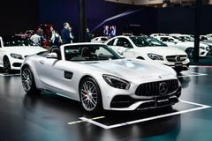 Mercedes-AMG SLC 43 Logo of Mercedes-Benz on display at Thailand International Motor Expo Stock Photos
