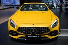 Mercedes AMG SLS GT sports car. BRUSSELS - JAN 10, 2018: Mercedes AMG SLS GT sports car showcased at the Brussels Motor Show Stock Photos