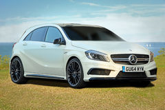 Mercedes amg a45 turbo. Photo of a luxury mercedes amg a45 turbo sports car being shown on tankerton slopes in whitstable on Stock Photography