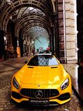 Mercedes amg yellow car sportcar. Mercedes, sport , yellow car Royalty Free Stock Photos