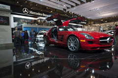 Mercedes-Benz 2011 SLS AMG em Autoshow 2010 Foto de Stock Royalty Free