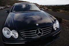Mercedes Benz. Parked on a mountain royalty free stock image
