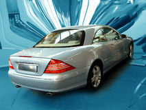 Mercedes Benz. Luxury car. Focus on the car, dinamic distorted background royalty free stock image