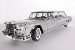 Mercedes Benz 600 metal scale toy car wideangel. Picture of a Mercedes Benz 600. Taken with extrem wideangel as a highkey picture. Detailed scale model from my stock images