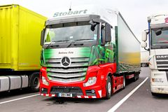 Mercedes-Benz Actros. AUSTRIA - JULY 28, 2014: Semi-trailer truck Mercedes-Benz Actros at the interurban freeway Royalty Free Stock Photos