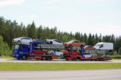 Mercedes-Benz Actros Car Transporter Hauls Ford Vehicles Royalty Free Stock Images