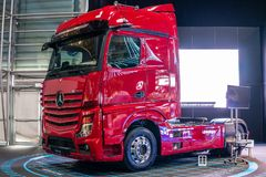 Mercedes-Benz Actros heavy-duty truck Third generation, brand's new flagship from Mercedes Benz royalty free stock image