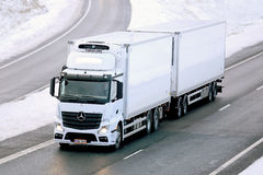Mercedes-Benz Actros Temperature Controlled Trailer Truck. SALO, FINLAND - NOVEMBER 23, 2014: Mercedes-Benz Actros temperature controlled truck on motorway royalty free stock image