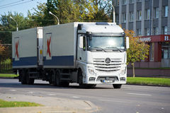 Mercedes-Benz Actros truck on the road Stock Images