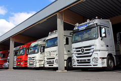 Mercedes-Benz Actros trucks in a Vehicle Storage Stock Image