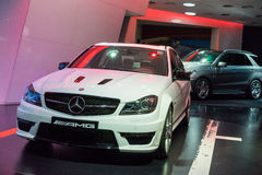 Mercedes Benz AMG cars for sale. Mercedes Benz AMG cars in showroom for sale,  2014.06 Royalty Free Stock Photos