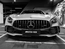 Mercedes-Benz AMG GTR 2018 V8 de buitendetails van Biturbo, Koplamp Front View Auto buitendetails Rebecca 36 stock foto's