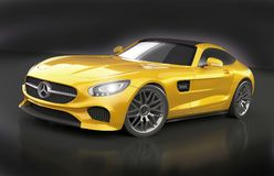 Mercedes Benz AMG 2015 sportscar. 3d rendering of Mercedes benz AMG 2015 created and redesigned with Blender3d software.Rendering with cycles rendering engine Royalty Free Stock Photos
