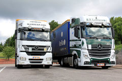 Mercedes Benz Axor and Actros Trucks Parked royalty free stock photos
