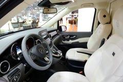 The Mercedes-Benz Brabus V-class van interior is on Dubai Motor Show 2017. DUBAI, UAE - NOVEMBER 18: The Mercedes-Benz Brabus V-class van interior is on Dubai Stock Image