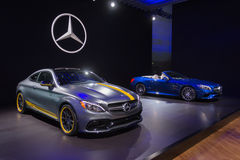 Mercedes Benz C63 AMG Coupe and SL550 Stock Photos