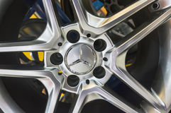 Mercedes-Benz car wheel alloy rim. JOHOR, MALAYSIA - DECEMBER 8, 2016 : Mercedes-Benz car wheel alloy rim close up. Mercedes-Benz is a world famous German car Stock Images