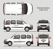 Mercedes-Benz Citan Medium Combi Van 2015. Mercedes-Benz Citan 2015 Combi Commercial Vehicle Blueprint Isolated Scale 1:10 Medium Van Lift Gate Rear Door Stock Image