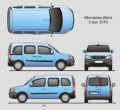 Mercedes-Benz Citan Medium Combi Van 2015. Mercedes-Benz Citan 2015 Combi Commercial Vehicle Blueprint Isolated Scale 1:10 Medium Van Stock Images