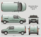 Mercedes-Benz Citan Long Cargo Van 2015. Mercedes-Benz Citan 2015 Commercial Vehicle Blueprint Isolated Scale 1:10 Long Van stock illustration
