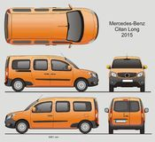 Mercedes-Benz Citan Long Combi Van 2015. Mercedes-Benz Citan 2015 Commercial Vehicle Blueprint Isolated Scale 1:10 Long Van royalty free illustration