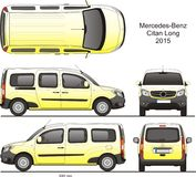 Mercedes-Benz Citan Long Combi Van 2015. Mercedes-Benz Citan 2015 Combi Commercial Vehicle Blueprint Isolated Scale 1:10 Long Van Lift Gate Rear Door royalty free illustration