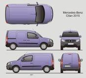Mercedes-Benz Citan Medium Cargo Van 2015. Mercedes-Benz Citan 2015 Cargo Commercial Vehicle Blueprint Isolated Scale 1:10 Medium Van Stock Images