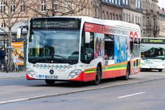 Mercedes Benz Citaro bus drives on bus route stock photo